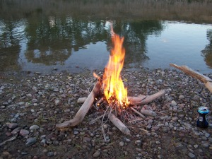 little fire at the river