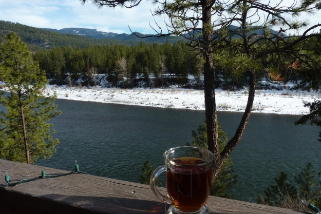 tea at a friends, over looking the Clarkfork River